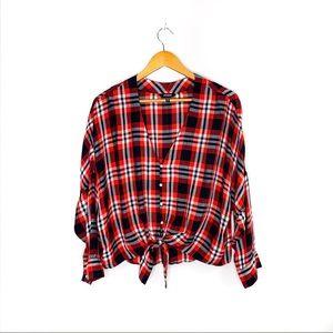 Plaid Tie Hem Long Sleeve Shirt - Express (size M)